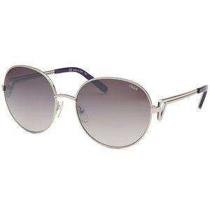 { Chloe } Round Silver Black Sunglasses